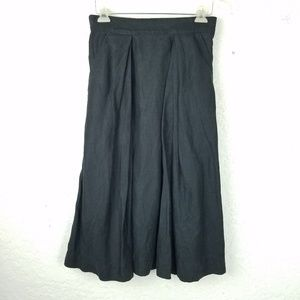 Milly women skirt size 4 linen black solid